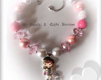 ON SALE~Girls Chunky Bubblegum Beads Necklace With Rhinestne Pendant~ Labor Day Sale~