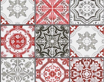 Azulejos Plaid red and gray fabric, Lisbon, portugal fabric, 1/2 meter