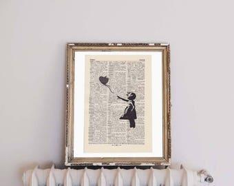 Print BANKSY - FLEEING HEART - antique book page - portrait