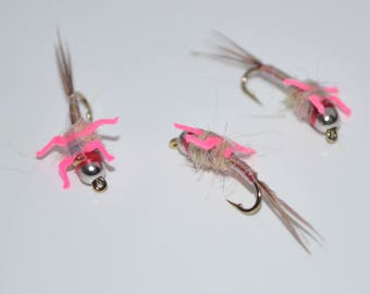 3 Rainbow Warrior Lively Legz Nymphs, Handmade, Trout Flies, Fly Fishing, Flies.
