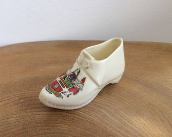 Vintage Arcadian English Crested China Miniature Porcelain North Country Clog Shoe - Accrington, Lancashire Coat of Arms