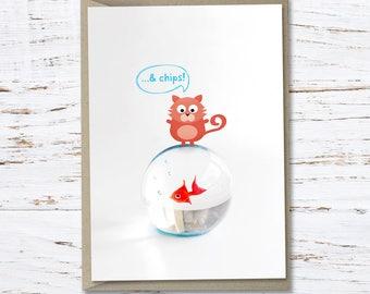 Cat 'Fish.. & chips!' greeting card // High quality 350gsm matt card