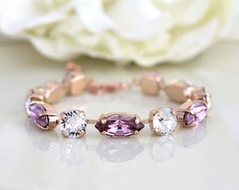 Rose gold bracelet, Bridal jewelry, Wedding bracelet, Bridal bracelet, Blush crystal bracelet, Swarovski bracelet, Tennis bracelet
