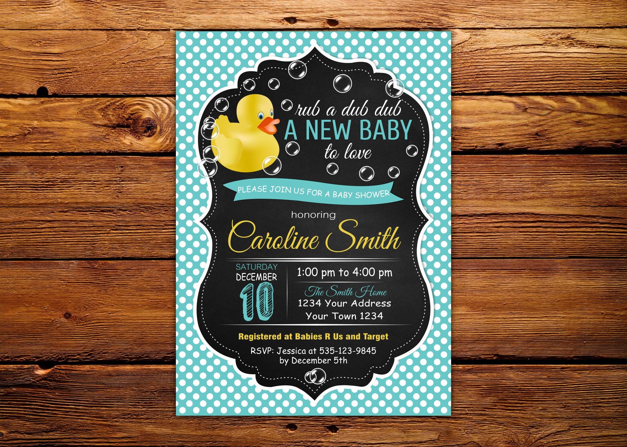 Rubber Duck Baby Shower Invitation. Chalkboard. Duck Baby Shower ...
