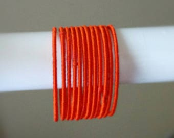 Orange Silk Thread Bangles ~ Set of 12 - Silk Thread Woven Bangles ~ Ethnic Indian Accessory ~ Favor/Return Gifts