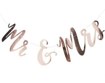 Mr And Mrs Rose Gold Bunting