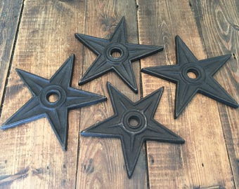 Collection of 4 Cast Iron Star Shaped Decorative Somethings/Shabby Chic Cast Iron Star Shaped Decorative Items/Rustic Cast Iron Set of Star