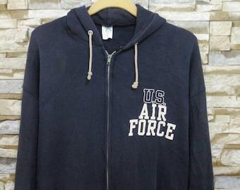 Vintage 70's 80's U.S AIR Force Jacket Sweatshirt Sweater Hoodie Military Army Usn Artex Usa Usaf L