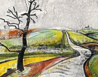 Dartmoor Highway Card by Molly Lemon | greetings card | landscape art | printmaking | printmaker | Print | Devon |