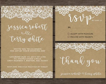 Lace Wedding Invitation -  Vintage Wedding Invitation - Vintage Wedding - Sets - Vintage - Invite RSVP Thank You Card - Printable Design