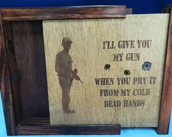 Gun Concealment Cabinet Hidden Engraved Scene Personalized