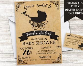 Halloween Baby Shower Invitation Invite Stroller Black Vintage Sprinkle Digital 5x7 Spider