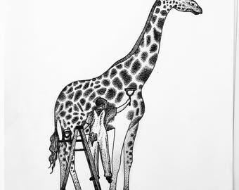 Giraffe Dotwork Drawing - A4
