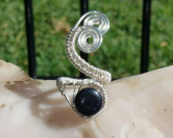 Midnight Blue Goldstone Wire Wrapped Ring