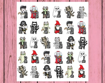 Halloween Mauly Halloween Countdown - Hand Drawn IttyBitty Kitty Collection - Planner Stickers