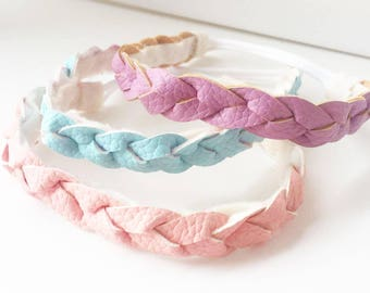 Vegan leather braided headband baby headband