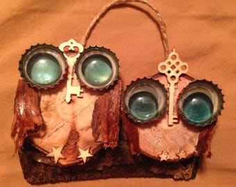 Lovebirds owl ornament