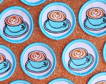 Latte Merit Badge Patch | Patches and Pins | Concha Patch | Coffee Patch | Ramen Patch | Iron-on | Scout Badge