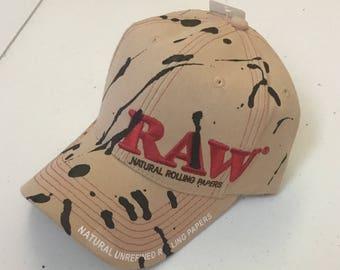 Black Paint Splatter Tan RAW Hat