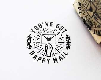 You've Got Happy Mail Stamp, Rubber Stamp, Polymer Stamp