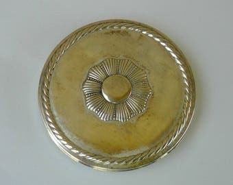 1940s Rex Fifth Avenue Sterling Powder Compact - 4 Inch Diameter