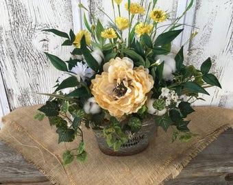 Farmhouse Tin Spring Floral Arrangement, Summer Yellow and Ivy Floral Arrangement, Cotton Pod Centerpiece, Year Round Table Arrangement