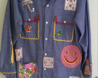 70s vintage denim chambray button up with patches and embroidery