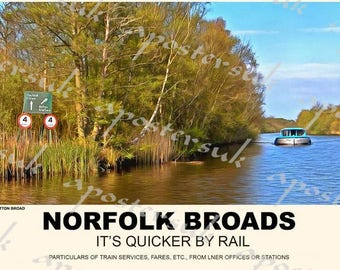 Vintage Style Railway Poster Norfolk Broads Sutton Broad A3/A2 Print