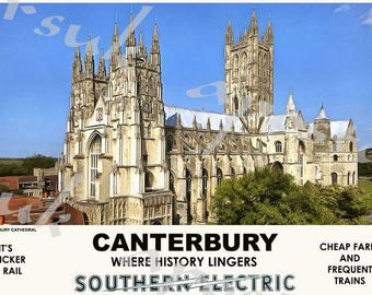 Vintage Style Railway Poster Canterbury Cathedral A3/A2 Print