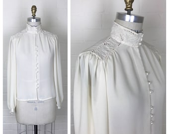 Vintage 80's high neck collar lace blouse  / long sleeve / small or medium /