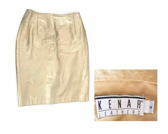 Vintage 80's gold leather skirt / small