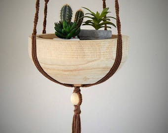 With wooden Bowl, plant holder hanging in Brown macramé: 1 m 40