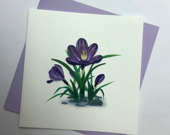 Crocus Flower Quilling Greeting Card