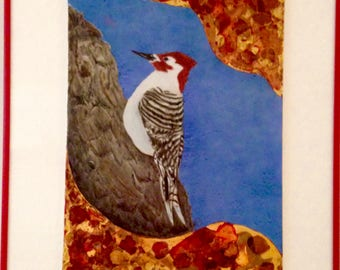 Framed woodpecker, red headed woodpecker on tile