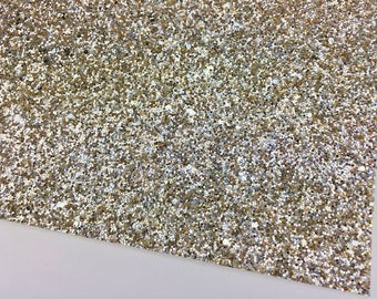 Chunky Glitter Fabric-Champagne | Gold and Silver Mix Chunky Glitter | Gold Mix Glitter | Glitter Sheets | Glitter Canvas Fabric