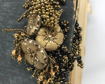 Antique gold hand beaded bracelet