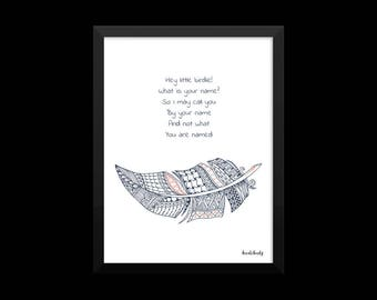 Poetry I  Original poem I Titled LITTLE BIRDIE I Poetic Art for Home Decor and Gift