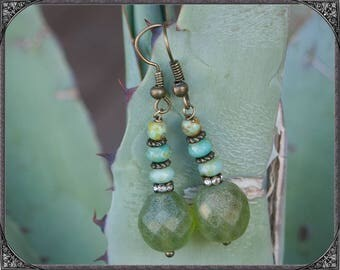 Green Boho Earrings