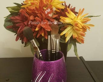 Glitter Makeup Brush Holder/Jar, Makeup Storage Organizer, Bathroom Vanity Jar, Jewelry Holder, Supplies Organizer