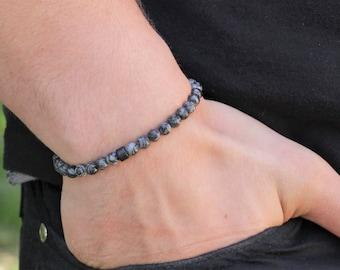 Men's Bracelet Jasper Mens Beaded Bracelet Mens Bead Bracelet Mens Grey Jasper Bracelet   Gift Mens
