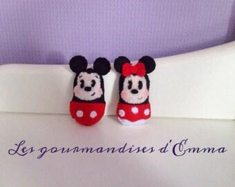 Lot porte clé thème souris ( Mickey et Minnie ) en feutrine