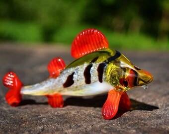 Glass fish figurine animals glass blowing green fish miniature art glass fish toys murano animals tiny small figure glass sculpture gift