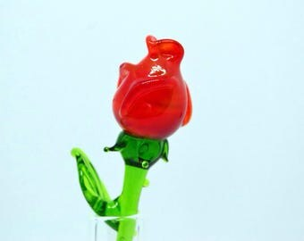 Glass rose red figurine red glass rose flower sculpture art glass flower murano toys tiny small flower miniatures figure toys flower