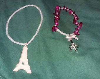 Pink Paris Effiel Tower Charm Beaded Bracelets