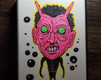 Neon Alien original 4×6 marker drawing. FRAMED. One of a kind! FREE shipping!