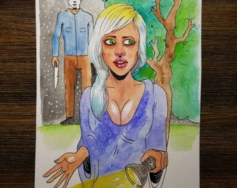 Slasher Girl 6×9 original watercolor painting. One of a kind. FREE shipping!