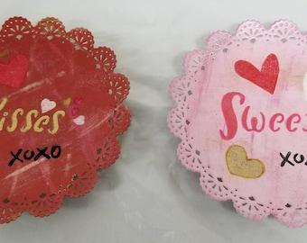 Pair Valentine Tidbit Plates