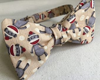 Sock Monkey Bow Tie/ Monkey Bow Tie/ Prom Bow Tie/ Black Dog Bow Tie/ Wedding Bow Tie/ formal bow tie/ groomesmen bow tie