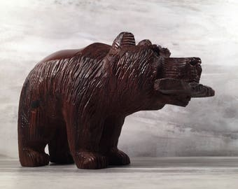 Ironwood Bear With Fish Carving