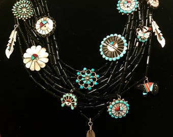 Native American Onyx Bead Necklace With Zuni Inlay Charms and Pins Brooches Southwestern 16 Strands